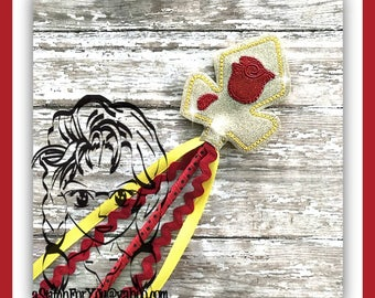 Beast CRoWN RoSE ~ Pencil Topper & WaND ~ In the Hoop ~ Downloadable DiGiTaL Machine Embroidery Design by Carrie