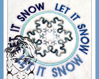Let it SNOW with Snowflake stitched Circle Applique ~ Downloadable DiGiTaL Machine Embroidery Design by Carrie
