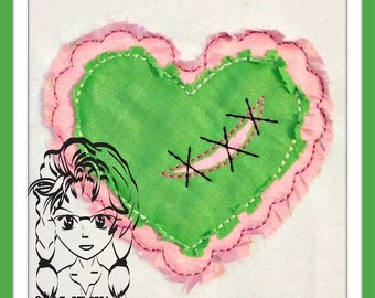 HEART ZOMBIE Raggedy Applique LOVE ~ Perfect for Valentines ~ Downloadable DiGiTaL Machine Embroidery Design by Carrie