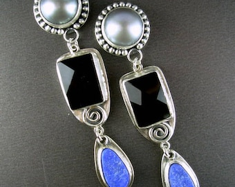 LARGE voluptuous dove grey button pearl, commercial faceted black onyx, purple blue raw designer cut lapis lazuli LONG sterling earrings