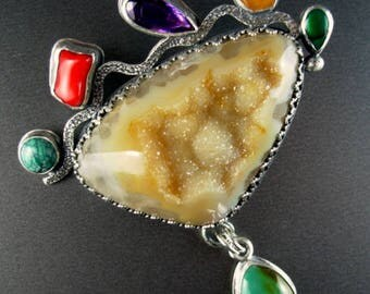 Chelle' Rawlsky STONE SOUP COLLECTION  large sterling silver pendant Brazilian drusy shell turquoise garnet coral amethyst Chelle' RAwlsky