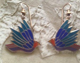 Laurel Burch CELESTE BIRD Cloisonne Earrings French Earwires Vintage Jewelry 1980s Gold Filled Blue Purple Green Orange