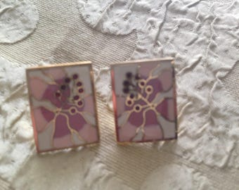 Laurel Burch Hibiscus Flower Rectangle Cloisonne Earrings Post Style RARE Vintage Jewelry 1980s Pink White