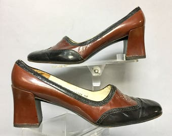 1970's MOD Leather Chunky Heels /  70's WING Tips, size 8 1/2, Charles Jourdan SPECTATORS Shoes