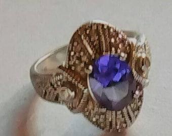Marcasite amethyst 925 ring