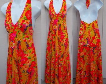 Vintage 60s to 70s Dress // Hawaiian Barkcloth Halter Orange & Pink Floral Maxi Long Dress / Psychedelic Flower Power empire Waist / sz XS