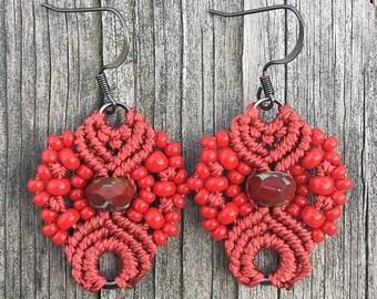 SUMMER SALE Micro-Macrame Earrings - Red