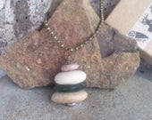 Take a Hike Rock Cairn Necklace, Sea Glass Beach Stone Stack