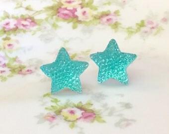 Large Aqua Star Stud Earrings in Bumpy Shimmering Sparkling Glittery Faux Druzy, Surgical Steel