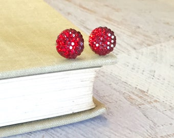 Little Red Sparkling Bumpy Druzy Round Circle Stud Earrings with Surgical Steel Posts