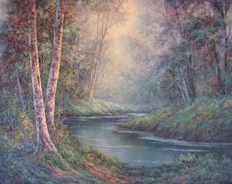 Mystic Birch , Original Fine Art, Oil Painting by Griselda Tello, Forest Landscape, Birch art