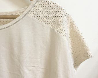 Cap sleeves cropped top ivory beige