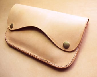 Minimalist Veg Tan Leather Clutch, Simple Nude Leather Wallet, Gift for Her, Oversize Snap Wallet, Curvy Lines, One of a Kind, Veg Tan