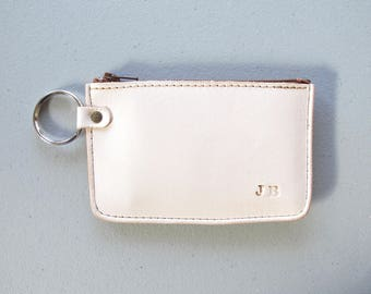 Monogram Wallet,  Nude VegTan Leather, Zipper Wallet, Minimalist, Custom Monogramme, Gift for Him, Made in Canada, Modern Leather
