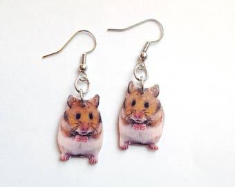 Handcrafted Plastic Golden Hamster Earrings