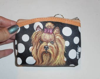 Yorkshire Terrier Yorkie Dog Hand Painted Coin Purse Mini Wallet Change purse