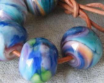 Tropical Sunset Lampwork Spacer Handmade frit Glass Beads  Blue green orange purple Pink 2-6 bead sets