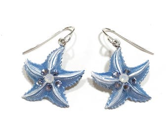 Starfish Earrings Iced Pearlized Light Blue and White with Crystal Accents
