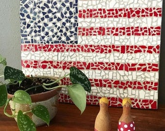 Mosaic American Flag, Tile Mosaic, American, USA, Army, Navy, Marine Corps, Veteran, Memorial Day, Fourth of July, Independence Day
