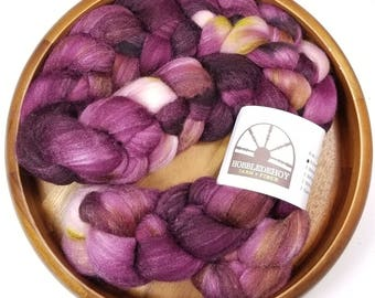 Claret - hand-dyed Polwarth wool and silk (4 oz.) combed top roving