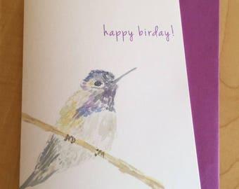 Hummingbird Birthday Card - Watercolor Bird Card - Happy Birday Hummingbird Greeting Cards - Watercolor Birthday Greeting Card
