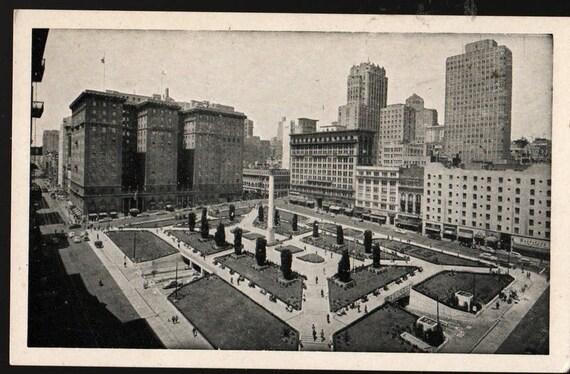 Union Square - San Francisco, California - Vintage Souvenir Postcard