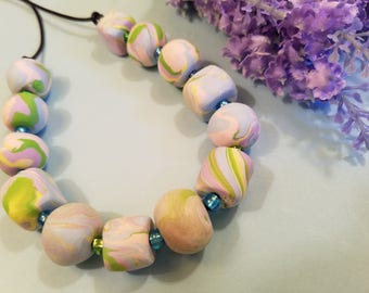 Chunky Beads Necklace, Handmade Polymer Clay Jewelry, One of a Kind Jewelry, Pastel Colors Blue Peach Green Lavender, Statement Necklace