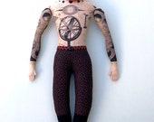 Tattooed Man Red Hair with Beard Doll Celestial Map tattoos plush