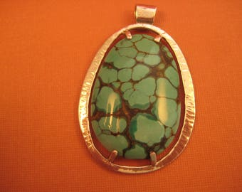 Hammered sterling  silver and turquoise pendant