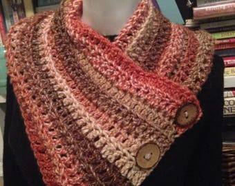 Coral and Beige Mulitcolor Cowl Chunky Convertible Neck Warmer 3 Buttons