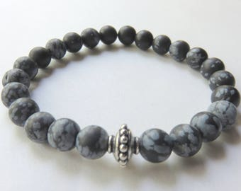 Black Mens Stretch Bracelet, Snowflake Obsidian, Sterling Silver, Unisex Jewelry, Fathers Day, Gemstone Bracelet for Him, Black and Silver
