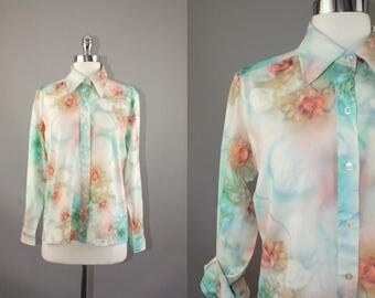 Vtg 70s Blue green ombre cloudy roses printed semi sheer polyester button shirt blouse sz S