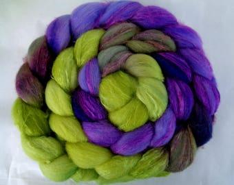 Merino silk roving, handpainted spinning fiber, wool roving, felting wool, roving, hand dyed roving, wool silk roving, purple, green, 3.5oz