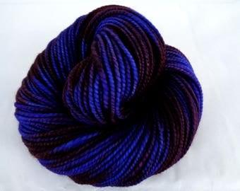 Handspun yarn, SQUID INK, handpainted yarn, merino yarn, worsted yarn, merino superwash yarn, blue yarn, purple yarn, 4oz, 150yds