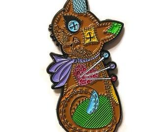 Voodoo Cat Doll Enamel Pin Patchwork Cat Lapel Pin Cushion Cat Doll Brooch Button Eyes Cat Rag Doll Art Badge Cat Lovers Jewelry