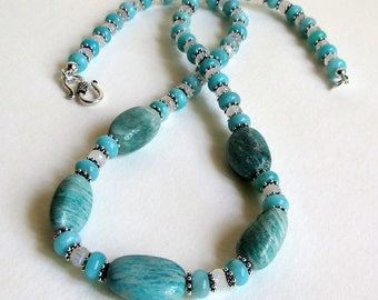 Beautiful Blue Amazonite and Blue Flash Moonstone Necklace with Sterling Silver, Smokeylady54