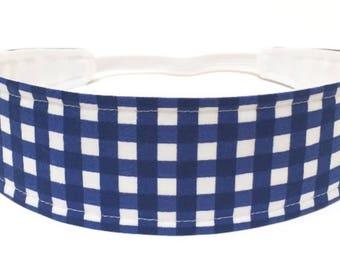 Girls Navy Blue Gingham Headband, Child, Children's, Reversible Fabric Headband - Blue & white gingham -  NAVY BLUE GINGHAM