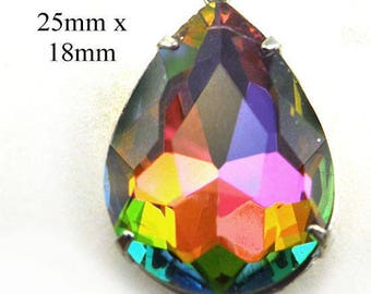 Vitrail Rainbow Glass Pendant - 25x18 Teardrop - Framed Glass - 25mm x 18mm - Rhinestone Glass Gem - Silver or Brass Prong Setting