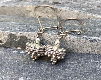 Bali Silver Ornate Drop Earrings