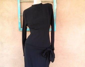 ON SALE Vintage 1940s Dress Black Rayon 40s Bias Cut Goth US2 B34 W 25