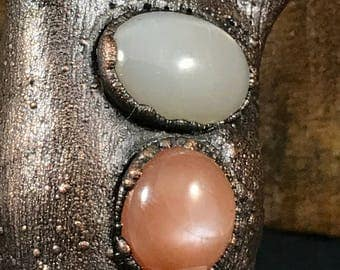 Amulet, electroformed copper, rough quartz, moonstones
