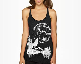 SALE S or L- Tri-Blend Gray Racerback Tank with Moon Wolf Screen Print