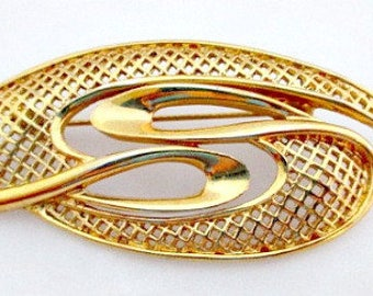 Abstract Brooch Pin. Vintage Pin Brooch, Vintage Jewelry, Openwork Pin, Gold Tone Pin Brooch, 1980's Jewelry. Retro Pin Brooch,