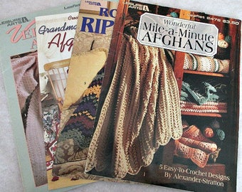 4 Crochet Afghan Leaflets - Crochet Afghan Patterns - Mile a Minute Ripple Booklets - Leisure Arts Annie's Attic Crochet Pattern Leaflets