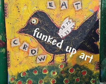 Primitive Crow Black Bird Outsider Art Painting Canvas Whimsical Unique Naive Unusual Hickety Pickety