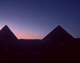 Egyptian Pyramids at Dusk