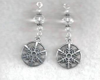ON SALE Snowflake Earrings