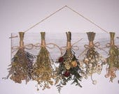 Rustic Dried flower rack with flowers, country chic, home decor, farmhouse decor, flower rack, primitive decor, kitchen decorating