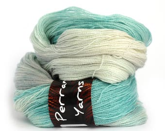 Blue laceweight wool, handdyed BFL silk lace 2ply yarn, Perran Yarns Waterworld, bluefaced leicester variegated skein silver grey turquoise