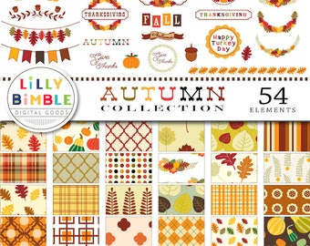 40% off AUTUMN COLLECTION, Thanksgiving clipart, Fall clip art, banners, labels, sayings, bunting, digital paper, scrapbook, Commercial Use